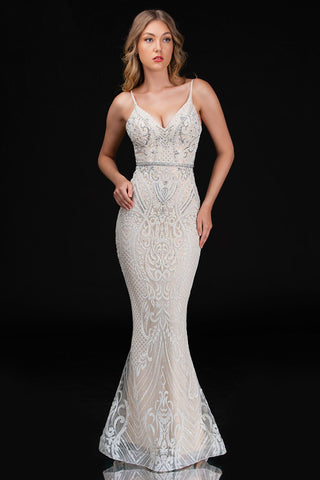 Nina Canacci 8173 is a long glitter embellished form fitted mermaid prom & Wedding dress. featuring a v neckline and spaghetti straps. Fully Glitter Embellished with crystal accents along the bodice & waist.  Available Sizes: 0-16  Available Colors: Ivory/Nude, Black/Rose Gold