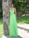 Vienna Prom 8190 Size 0 Lime Long Prom Dress sheer A Line Formal Beaded