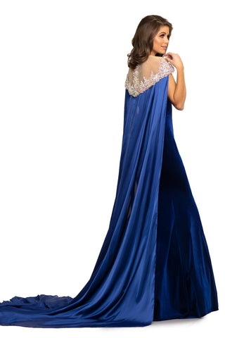 Johnathan Kayne 8201 Pageant Gown, Prom Dress, Formal Evening Wear.  This strapless sweetheart stretch velvet mermaid gown features a lace up back, to fit and enhance your curves. The removable cape is encrusted with hand sewn A/B crystals in a flame design and the dramatic charmeuse train flows effortlessly.