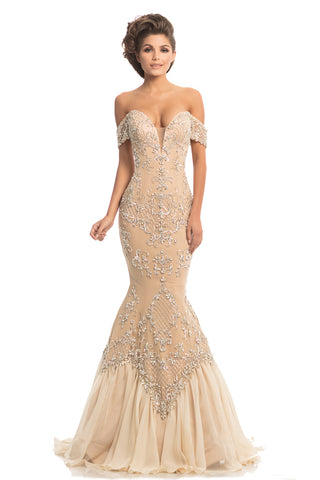 Johnathan Kayne 8211 is a Romantic Mermaid Prom Dress, Pageant Gown & Formal Evening Wear.   This mesh and stretch lining gown has intricate and beautiful hand beadwork with Swarovski crystals. The mermaid silhouette is finished with a flowy silk chiffon hemline and train.