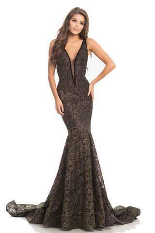 Johnathan Kayne 8218 is a mermaid Prom, Pageant & Formal Evening Wear.   Sexy and fierce, this glitter stretch lace mermaid gown features sheer mesh insets at the neckline and sides of the bodice. The neckline is trimmed with velvet ribbon adding texture and elevating design.