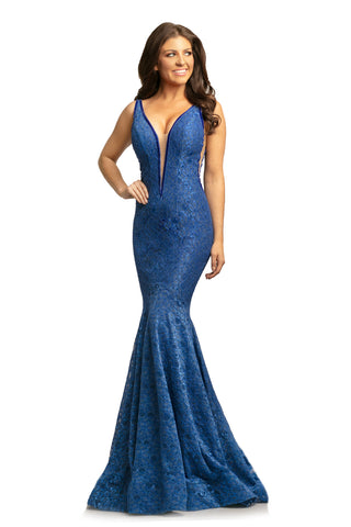 Johnathan Kayne 8218 size 12 Royal Lace Mermaid Prom Dress Pageant Gown 2020