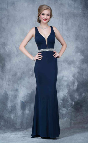 Nina Canacci 2124 This is a fitted plunging neckline with illusion panel prom dress.  This evening gown is long and illusion panels under the arms and an embellished belt. Color Navy  Size 4