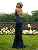 Primavera Couture 3220 Black Teal Size 14 Prom Dress Pageant Gown