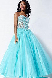 Jovani 1332 Sheer Corset Embellished Tulle Ballgown Prom Dress Formal Gown
