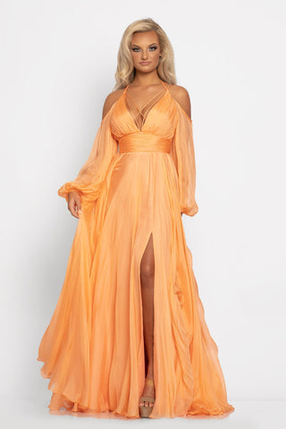 Johnathan Kayne 2038 is a chiffon Prom Dress, Pageant Gown, Destination Wedding Dress & Formal Evening Wear. This Long Flowing Silk Chiffon Dress Features a Deep Plunging V Neckline with accented spaghetti straps crossing along the bust around to the open back with a corset lace up tie closure. Stunning sheer off the shoulder long sleeves.