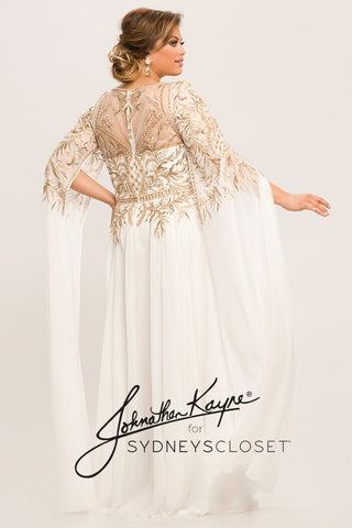 Johnathan Kayne for Sydneys Closet JK2001 Bel Air White Gold plus size evening gown with sheer gold thread embellished neckline and sleeves that flow down past the hands in an open flowy style A line prom dress.