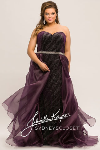 Johnathan Kayne for Sydneys Closet JK2017 Phantom Plus Size Prom Dress Pageant Gown Evening Gown   strapless sweetheart neckline fitted shimmer sparkle prom dress with sheer flowy overskirt and crystal belt