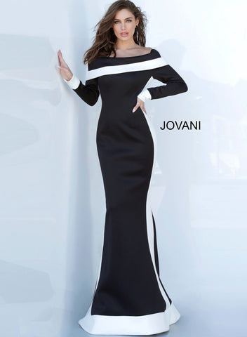 Jovani 4062 off the shoulder long sleeve black and white evening gown Black and white stripe evening dress featuring a square off-the-shoulder folded neckline and long sleeve bodice, closed back with zipper closure. Floor-length bodycon skirt with a gently flared end. Available colors:  Black/White  Available sizes:  00-24