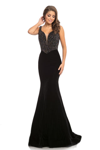 Johnathan Kayne 9019 is a velvet mermaid Prom Dress Pageant Gown & Formal Evening Wear. Long fitted mermaid silhouette with a basque waistline. Fully Embellished bodice is covered in crystal studs and beading. Plunging neckline with mesh insert.