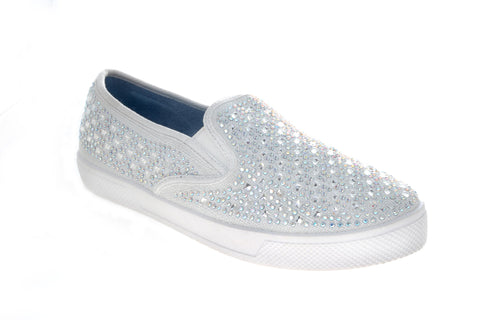 Peyton Slip on Sneakers Prom Shoes Crystal Embellished Canvas Flat Bling