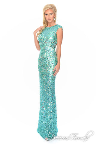 Precious Formals 9123 size 00 in Crystal Ice sequin illusion top gown with cutout back