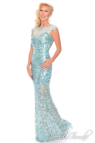 P 9123 Slim fit sequin long prom dress pageant gown with illusion crystal top and open cut out back in beautiful crystal ice blue size 00