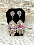 Gold Tear Drop AB Crystal Rhinestone Earring Formal Pageant Prom Dangle Chandalier
