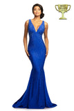 Johnathan Kayne 9213 is an embellished stretch Prom Dress, Pageant Gown & Formal Evening Wear. One of Johnathan Kayne's favorite styles for the Fall season, this elegant 4 way stretch lycra gown has a modern empire bodice and hugs the body all the way to the dramatic train. Adorn in shimmering crystals, this gem of a gown will turn heads.