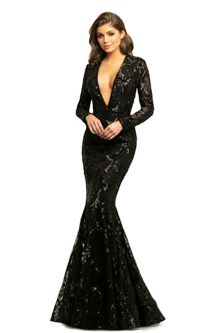 Johnathan Kayne 9245 is a sequin lace mermaid Prom Dress, Pageant Gown & Formal Evening Wear. An elegant sequin lace mermaid gown with long sleeves, the innovative invisible zippered neckline offers the versatility of a plunging neckline or a more modest neckline with just one zip.