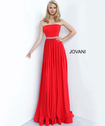 Jovani 02379 straight neckline embellished belt prom dress