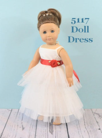Rosebuds 5117 Doll Dress Matches Rosebuds Flower Girl Dress 5117  Rosebuds Fashions 5117 Doll Dress Matching Doll Flower Girl Dress  Your Flower Girl can have a matching doll dress that matches her flower girl dress!  One size, fits American Girl Dolls or similar dolls in the same size.  Please indicate the color of the sash.   Flower Girl Dress Not Included