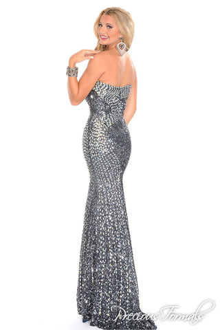 Precious Formals P9355 Charcoal size 6 pageant prom dress