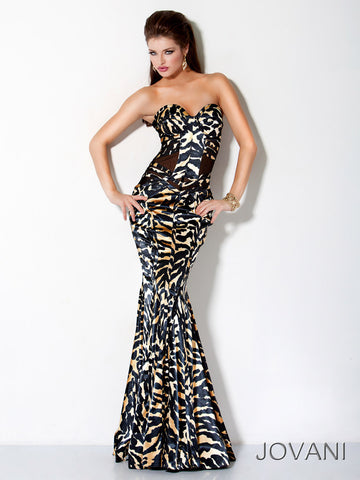 Jovani 9623 Long Fitted Sheer Animal Print Formal Dress Sexy Mermaid Corset Gown