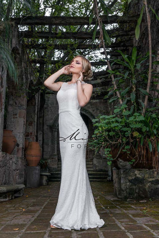 Milano Formals E1822 long lace dress in Ivory Sizes 8, 12 and 14
