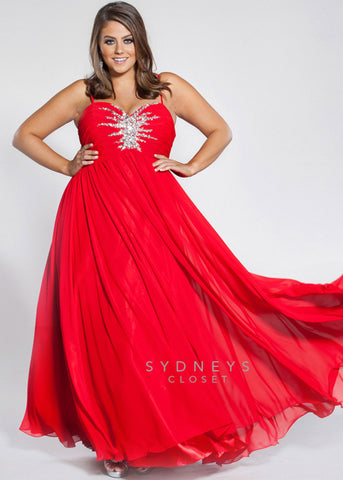 Sydneys Closet style SC7071  Look glamorous at any special occasion wearing our best-selling chiffon formal evening gown. Flattering Empire waistline. Butterfly bodice features soft pleats and spaghetti straps. Burst of rhinestones adds sparkle to your big night. Lightly gathered A-line skirt flows in a smooth circle when you walk or dance. Prom Dress Plus Sized   Available Size: 24  Available Color: Ruby Red