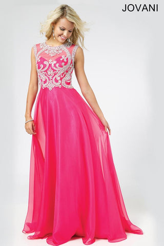 Jovani 98542 Size 12 Sheer High Neck Prom Dress Pageant Gown Fuchsia Pink