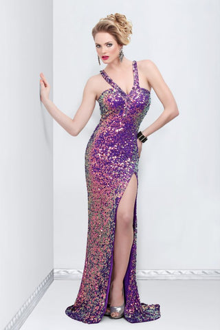 Primavera Couture 9870 long purple dress with side slit and v strap neckline in size 8
