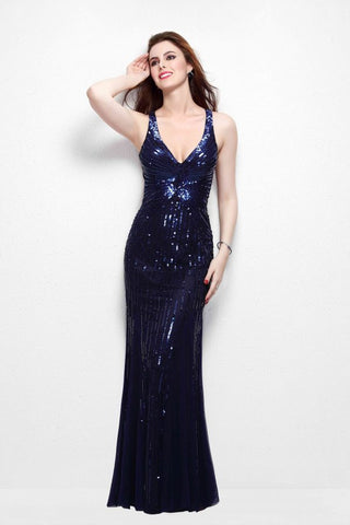 Primavera Couture 9874 size 8 Long Sequin prom dress V Neck Formal Gown