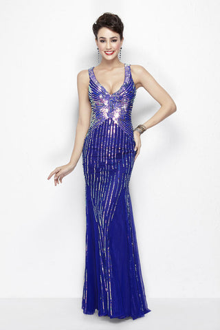 Primavera Couture 9874 starburst sequin long dress in  Blue size 2, 12, 14, 16, 18