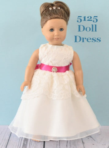Rosebuds 5125 Doll Dress Matches Rosebuds Flower Girl Dress 5125 Rosebuds Fashions 5125 Doll Dress Matching Doll Flower Girl Dress  Your Flower Girl can have a matching doll dress that matches her flower girl dress!  One size, fits American Girl Dolls or similar dolls in the same size.  Please indicate the color of the sash.  Flower Girl Dress Not Included