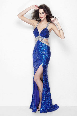 Primavera Couture 9958 Size 8 fully beaded long dress Blue cutout backless