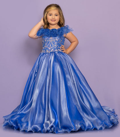 Sugar Kayne C130 by Johnathan Kayne is a Girls and Preteens pageant gown of shimmer organza with embellished bodice and spaghetti straps corset back that features a detachable feather boa.  Available colors:  Petal Pink, Sapphire  Available sizes:  2, 4, 6, 8, 10, 12, 14, 16