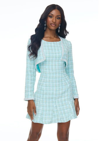 Ashley Lauren 4429 Tweed perfection! This tweed cocktail dress has a slight flair skirt and removable mini jacket. The jacket is trimmed with pearls.  Colors Aqua, Pink  Sizes  0, 2, 4, 6, 8, 10, 12  Tweed Separate Jacket Pearl Trim Fit & Flare