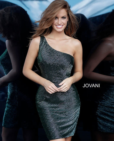 Jovani 1247 one shoulder short beaded cocktail dress
