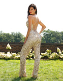 Primavera Couture 3261 Midnight, Nude Gold beaded jumpsuit