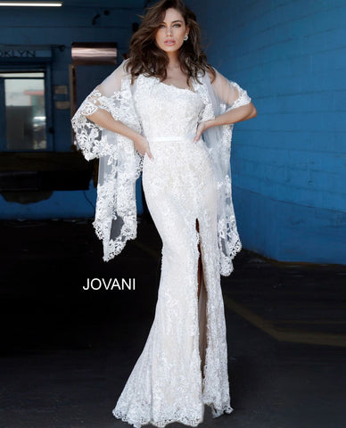 Jovani 00866 one shoulder strap lace fitted prom dress with lace shawl