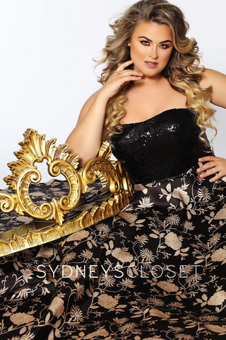 Sydney's Closet SC7300 Strapless sequin top Black and Gold print A line skirt prom dress evening gown ball gown with pockets  Available colors:  Black Gold  Available sizes:  14, 16, 18, 20, 22, 24, 26, 28, 30, 32