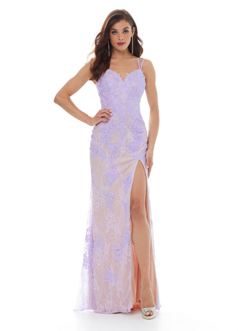 Ashley Lauren 11011 Stay on trend in this lace embroidered prom dress with lace up back. This fitted evening gown is adorned with floral lace applique that trickles down the skirt. The skirt is complete with a slit.  Colors Aqua, Lilac, Blush  Sizes 00, 0, 2, 4, 6, 8, 10, 12, 14, 16  Lace Applique Slit Lace Up Back