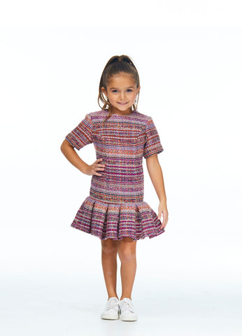 Ashley Lauren 8032 Kids high neckline short sleeve tweed short dress fun fashion pageant wear with pleated short skirt. Colors  Raspberry/Multi  Sizes  4, 6, 8, 10, 12, 14
