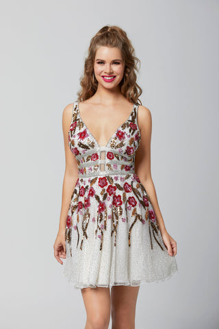 Primavera Couture 3313 beaded floral fit and flare homecoming dress