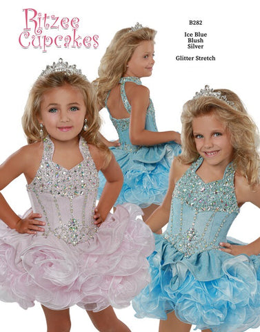 Ritzee Girls B282 Cupcake Pageant Short Ruffle Glitter Shimmer Glitz Collar Dress