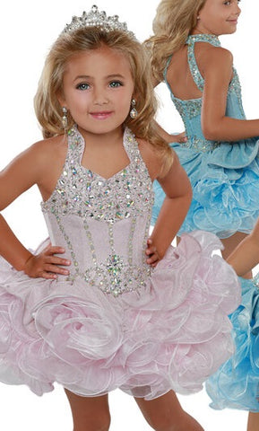 Ritzee Girls B282 Size 2 Cupcake Pageant Short Ruffle Glitter Shimmer Glitz Collar Dress