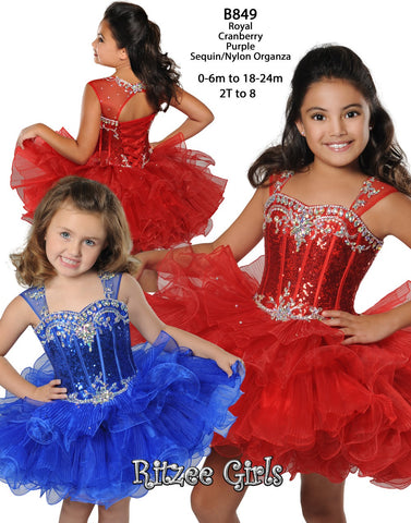 Ritzee Girls B849 Cupcake Pageant Dress Sequin Corset Ruffle Skirt Glitz Rhinestone