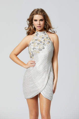 Primavera Couture 3347 beaded wrap short homecoming dress cocktail dress