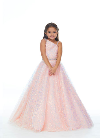 Ashley Lauren 8058 Sparkle in this one shoulder sequin tulle girls and preteen's pageant dress ball gown embellished with a crystal belt.  Colors Blush, Lilac  Sizes  4, 6, 8, 10, 12, 14, 16,  A-Line Beaded Belt & Shoulder Details One Shoulder