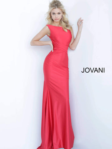 Jovani 1016 Ruched Bodice V Back Satin Mermaid Prom Dress