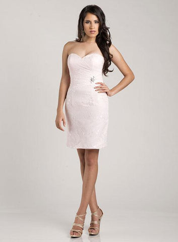 Adagio Bridesmaids BM103 Size 6, 8 Short Fitted Lace Blush Formal Dress reception