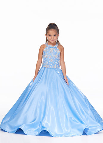 Ashley Lauren 8050 Elegant halter kids, girls and preteen's shimmer satin pageant gown featuring a pearl and crystal beaded bodice accented by full shimmer satin skirt.  Colors Ivory, Pink, Sky, Lilac  Sizes  2, 4, 6, 8, 10, 12, 14, 16  Halter A-Line Crystal and Pearl Beaded Bustier Shimmer Satin