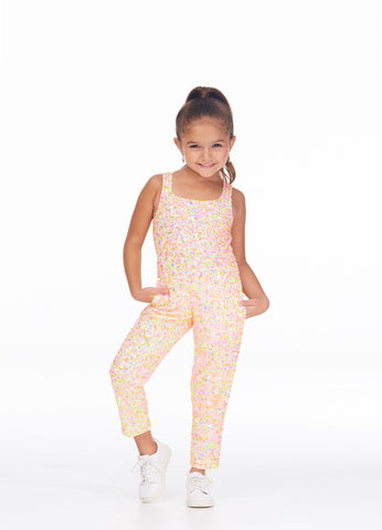 Ashley Lauren 8025 Sparkle at your next event in this fully beaded girls pageant jumpsuit. The top has modern tank style straps. The straight leg pants are complete with pockets.  Colors Multi/Ivory, Mint, Neon Green, Neon Orange, Red, Royal  Sizes 2, 4, 6, 8, 10, 12, 14, 16  Fully Beaded Jumpsuit Straight Pant Pockets